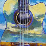 Guitar And Clouds Art Print