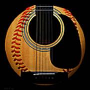 Guitar Baseball Square Art Print by Andee Design