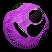 Guitar Grape Baseball Square Art Print