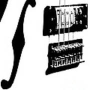 Guitar Graphic In Black And White  Art Print