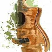 Guitar Green Background 4 Art Print