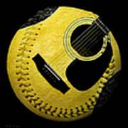 Guitar Yellow Baseball Square Art Print