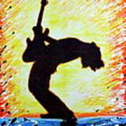 Guitarist Rockin' Out Silhouette Art Print