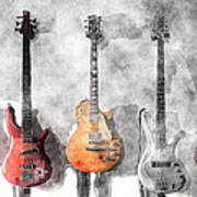 Guitars On The Wall Art Print