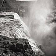 Gullfoss Iceland In Black And White Art Print