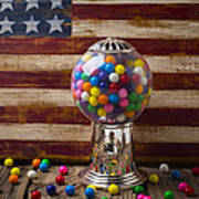 Gumball Machine And Old Wooden Flag Art Print by Garry Gay