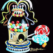 Gumball Machine And The Lollipops Art Print