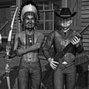 Gunfight At The Okey Dokey Corral - Black And White Art Print