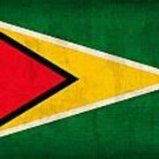 Guyana Flag Vintage Distressed Finish Art Print