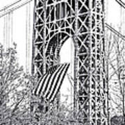 Gw Bridge American Flag In Black And White Art Print