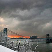 Gw Bridge In Winter Sunset Art Print