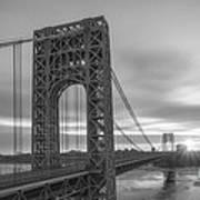 Gw Bridge Le Wide Crop Bw Art Print