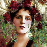 Gypsy Girl Of Autumn Vintage Art Print