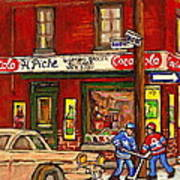 H. Piche Grocery - Goosevillage -paintings Of Montreal History- Neighborhood Boys Play Street Hockey Art Print