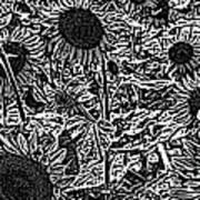 H2 Sunflowers Map Bw Art Print