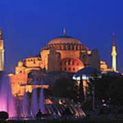 Hagia Sophia At Night Istanbul Turkey  Art Print