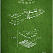 Hair Straightener Patent From 1909 - Green Art Print