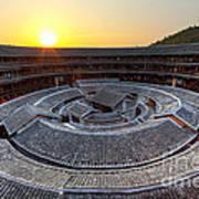 Hakka Tulou Traditional Chinese Housing At Sunset Art Print