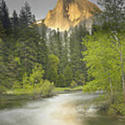 Half Dome And The Merced River At Sunset Art Print