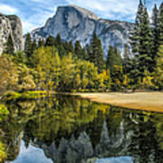 Half Dome Reflected In The Merced River Art Print