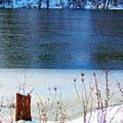 Half Frozen River Bank Art Print