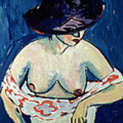 Half Naked Woman With A Hat Art Print