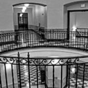 Hall And Stairs In Black And White Art Print
