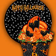 Halloween Black Cat Cupcake 2 Art Print