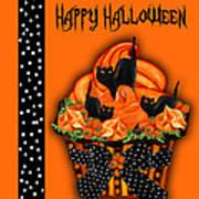 Halloween Black Cat Cupcake 3 Art Print