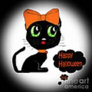 Halloween Black Cat Art Print