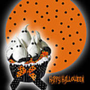 Halloween Ghost Cupcake 2 Art Print