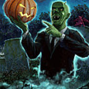 Halloween Ghoul Rising From Grave With Pumpkin Print by Martin Davey