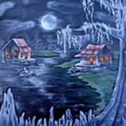 Halloween In The Swamp Art Print