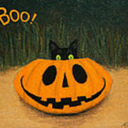 Halloween Kitty Boo Art Print