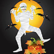 Halloween Mummy Carved Pumpkin Illustration Art Print