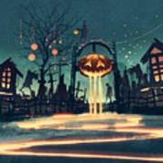 Halloween Night With Pumpkin And Art Print