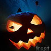 Halloween Pumpkin And Spiders Art Print