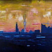 Hamburg Skyline At Dusk With Elbe Philharmonic Hall Art Print