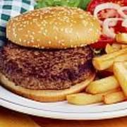 Hamburger & French Fries Art Print