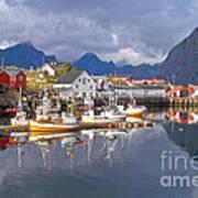 Hamnoy Fishing Village On Lofoten Islands Art Print