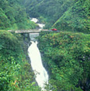 Hana Highway Waterfall Maui Hawaii Art Print