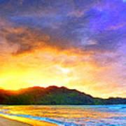 Hanalei Sunset Art Print