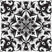 Hand Drawing Pattern For Tile In Black Art Print