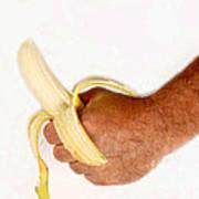 Hand Holding A Banana Art Print