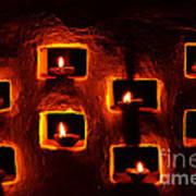 Handmade Oil Candles For Diwali Art Print