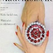 Hands Holding A Coro Rhinestone Pin Art Print