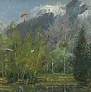 Hang Gliders At Chamonix, 2007 Oil On Canvas Art Print