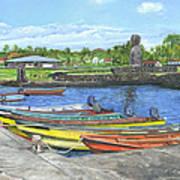 Hanga Roa Harbour Art Print