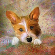 Hankie A Corgi And Westi Mix Cute Dog Art Print
