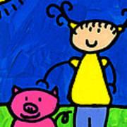 Happi Arte 1 - Girl With Pink Pig Art Art Print